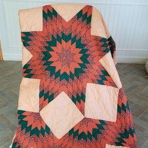 Hand Crafted Bedding - Vtg Broken Star Hand Stitched Quilt 86 x 95